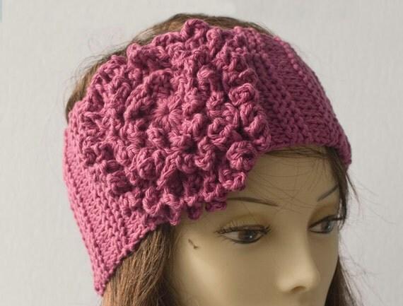 Cotton Flower Head Band,   Crocheted Ear Warmers, Ear Muff,  Lace Fashion,  Medium Pink