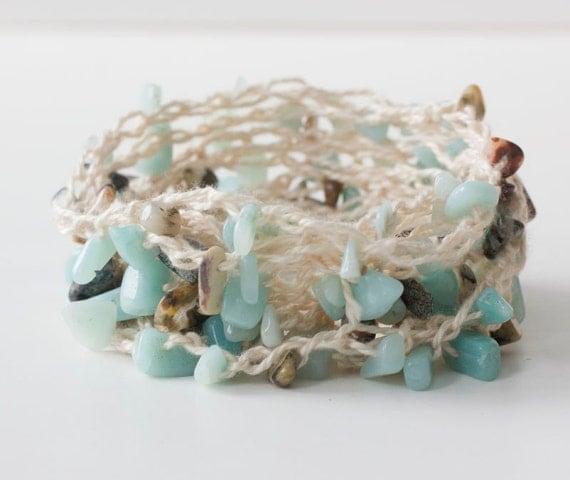 Beach Bracelet,  Necklace,  Summer Stackable Bracelet, Boho Wrap Bracelet,  Turquoise Chips Crochet