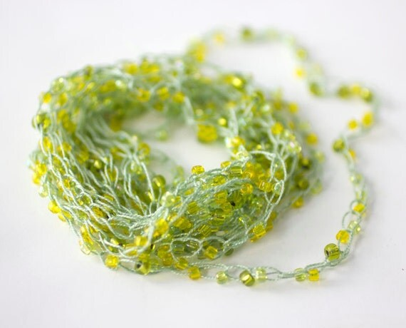Two Boho  Wrap Necklaces, Stackable Bracelets, Anklets, Beaded Jewelry, Crochet Jewelry, Summer, Green  Chartreuse