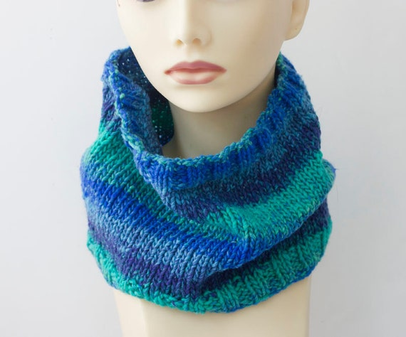 Knitting Pattern For Small Neck Scarf : SALE Hand Knit Cowl Scarf Blue Aqua Striped Vegan by ...