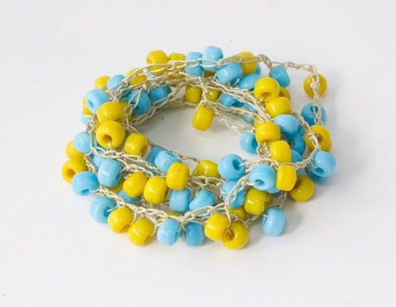 Sale 15 % off, Summer Necklace, Long Necklace,  Beach Jewelry, Stackable Wrap Bracelet,  Boho Beadwork Jewelry, Blue Yellow,