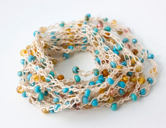 Boho Strand Necklace,  Wrap Bracelet,  Stackable Bracelet, Anklet,  Bohemian Beaded Jewelry, Crochet Jewelry, Turquoise, Gold