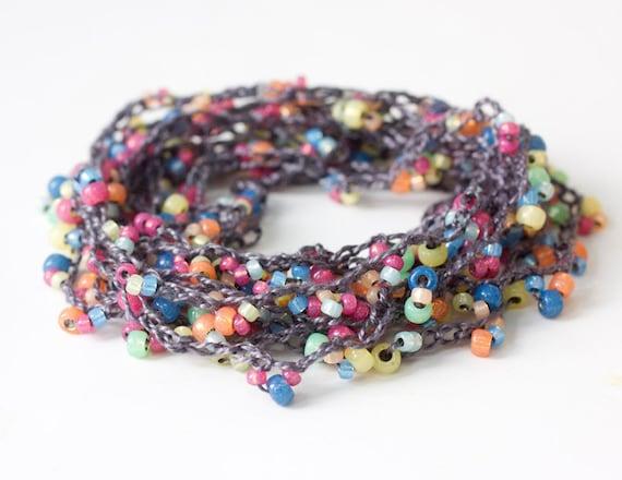 Summer Beach Strand Necklace, Wrap Bracelet,   Stackable Bracelet,  Boho  Bead Crochet Jewelry