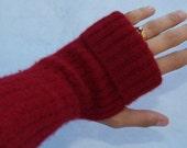 Deep Red Fingerless Gloves