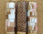 3 Spools of Brown and Pink Ribbon
