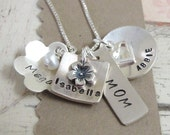 Personalized Jewelry .. Mother's Treasures ....Hand Stamped Mother's Necklace ... Personalized Jewelry ... Mommy Necklace