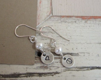 Hand Stamped Earrings ... Personalized Jewelry, Stamped Earrings ... Love and Peace