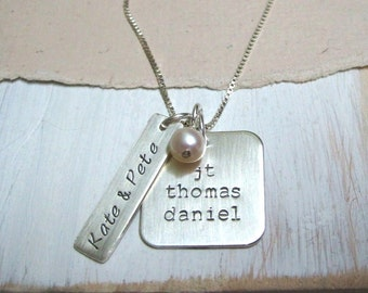 Hand Stamped Mothers Necklace ... Kate & Pete ... Personalized Family ... Mothers Hand Stamped Jewelry
