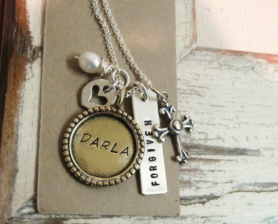 Hand Stamped Jewelry ... Personalized Necklace ... Mixed Metal Necklace ... Mothers Jewelry ... Inspirational jewelry... Forgiven