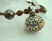 Wish Keeper Pendant with Amber Glass Beads - prayer keeper - spell keeper - FREE SHIPPING