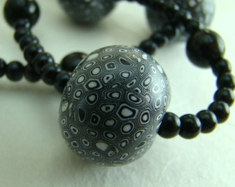 Black and white spots polymer clay necklace