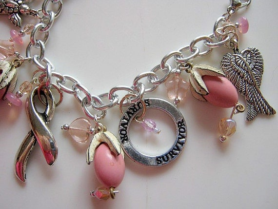 Pink Breast Cancer Awareness Thoughtful Vintage Beaded Charm Bracelet Beads