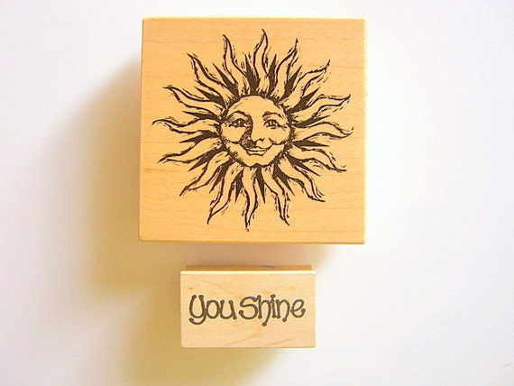 Wooden Rubber Stamp Sunshine Set of Two