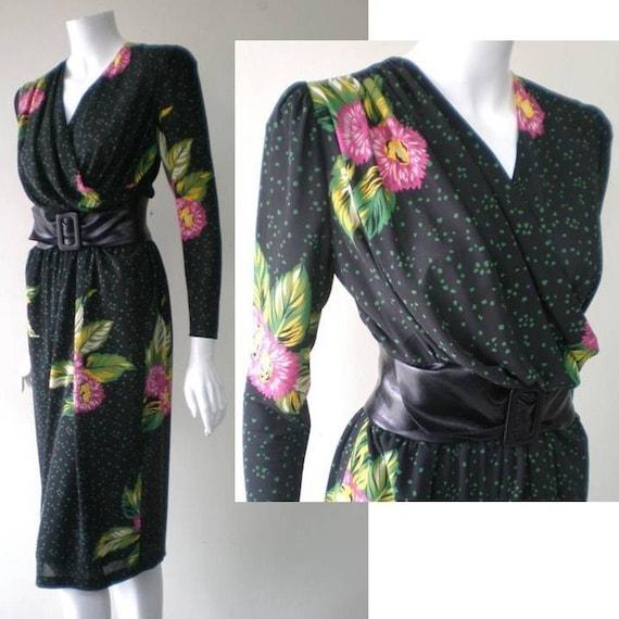 SALE...Vintage 80s does 1940s Movie GODDESS in SLINKY Jersey WRAP FRONT Dress, Black, Medium Large