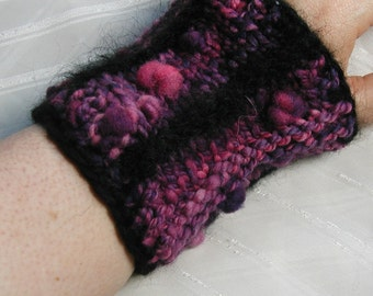 Purple bobble-cuff, with handspun wool and black mohair