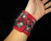 Gray Red Fiber Cuff