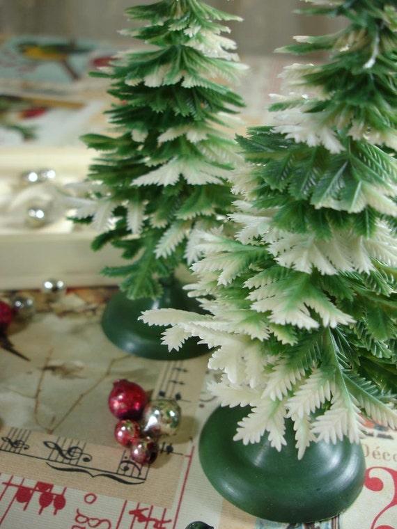 Vintage Plastic Christmas Trees, Snowy Pines, Set of three