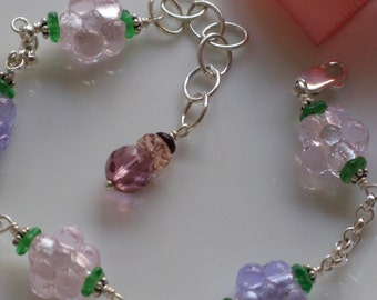 Floral Glass Bead and Sterling Silver Bracelet