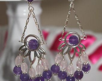 Amythest and Rose Quartz Chandelier Earrings