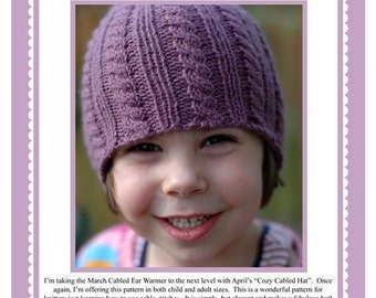 April Knit-Along Pattern - Cozy Cabled Hat (in 3 sizes) PDF