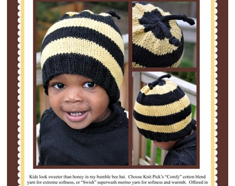 Bumble Bee Hat (in 3 sizes) Pattern PDF