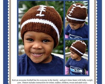 Faster Football Hat Pattern (in 5 sizes) PDF