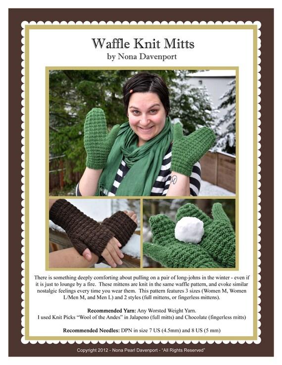 Waffle Knit Mitts Pattern PDF
