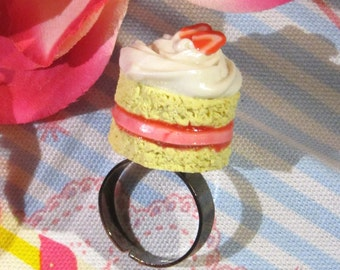 Kawaii Cake Ring - Whipped Cream and Strawberry Jelly Filled