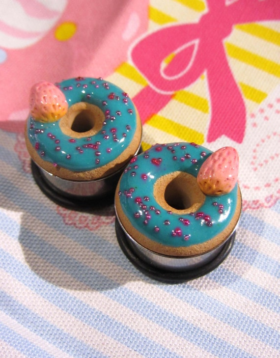 """3/4"""" Donut Eyelets - Strawberries with Turquoise Frosting Pink Sprinkles"""