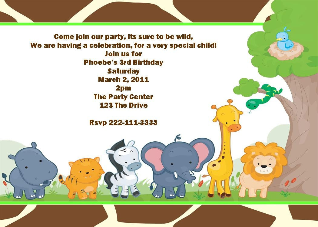 Safari Jungle Animal Printable Birthday Party Invitation