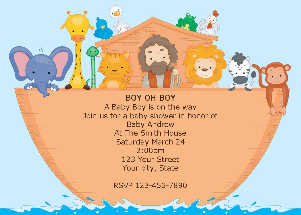 Boy Noah39;s Ark Printable Baby Shower Invitations DIY
