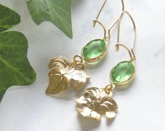 Bright Green & Gold Leaf Earrings