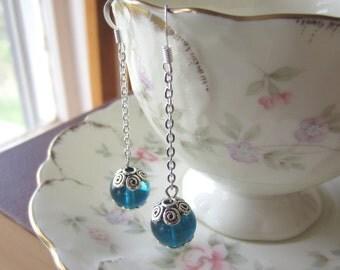 Indigo Blue Quartz Dangle Earrings Classic Handcrafted