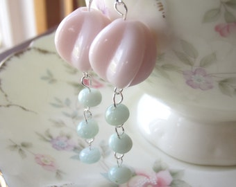 Pastel Pink and Blue Dangle Classic Handcrafted Earrings
