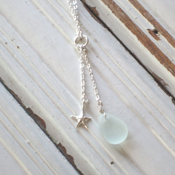 Blue Sea Glass and Silver Star Classic Handcrafted Necklace