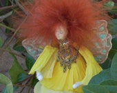 Daffodil Faerie with Auburn Hair  - Reserved for Brightflame