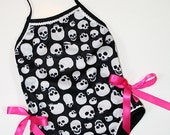 Children's Skull One Piece Pink Ribbon Swimsuit