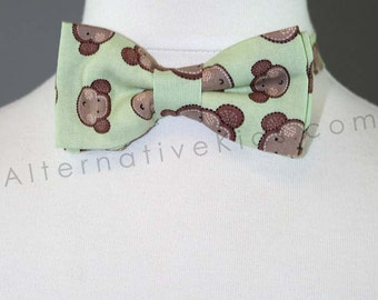 Children's Mint Green Monkey Bowtie