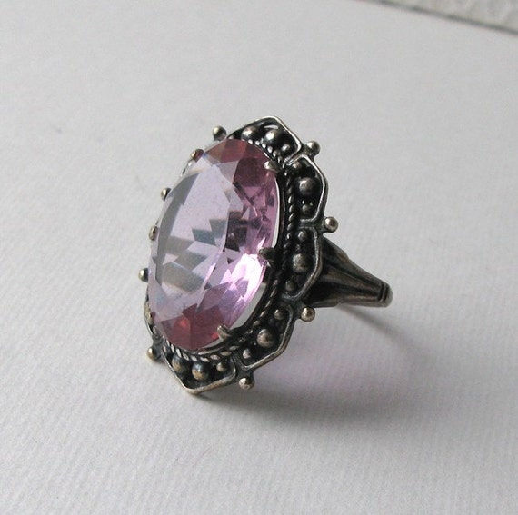 Russian Vintage Amethyst Crystal Glass Ring silver plated