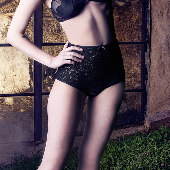 LIMITED EDITION Black Lace 'Charlotte' Open Derriere Knickers