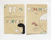 Set of 2 Hand drawn MOTIVATIONAL Postcards eco friendly Original illustration - SMILE-