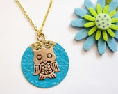 antique Golden OWL necklace with  hand painted round turquoise and golden charm
