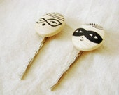 Bobby Pin hair clip Lovely Couple - MADE TO ORDER hand painted wood