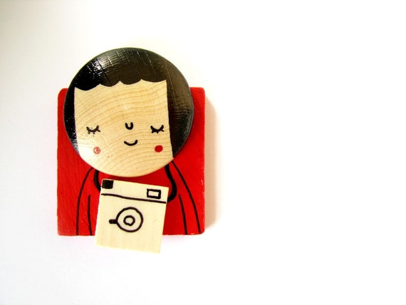 The Photographer Girl - Hand painted wooden Magnet or Brooch red