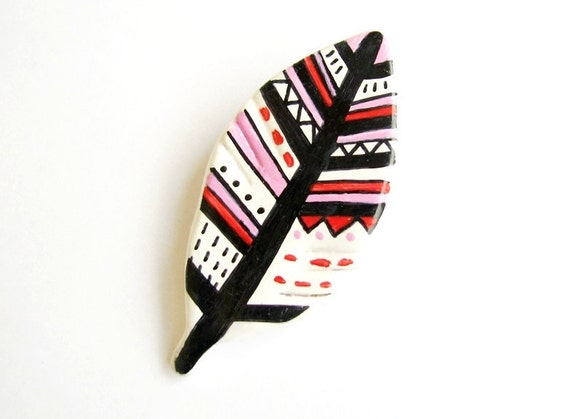 Pink and Red feather brooch - hand painted geometric pattern  air-dried clay