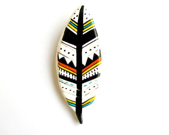 Multicolor hand painted feather brooch - yellow , orange and blue geometric pattern  air-dried clay
