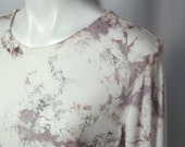 Water Crystals Bamboo Tee in Old Rose and Soft Gray (xl)