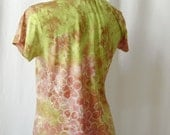 Spring Garden Reverse Echo Bamboo Tee in Chartreuse and Rosy Pink (medium)