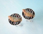 Fish Cufflinks - Fish on the Grill - 100% Handmade Collectable Schickie Mickie Miniature Food Art Jewelry