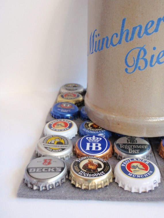 Cool German Beercap Coasters - Set of 4 Gray Base - Bottlecap Art - Schickie Mickie Home and Living Original - 100% handmade
